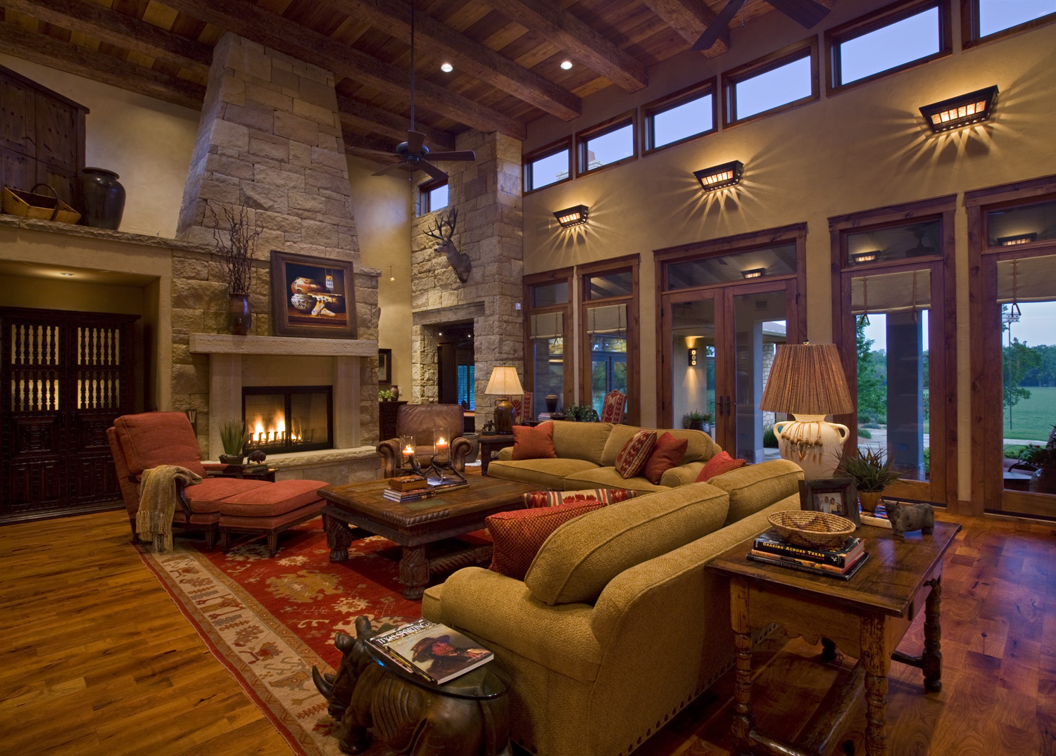 Log Cabin Open Floor Plans Texas Ranch House Linda Mccalla Interiors